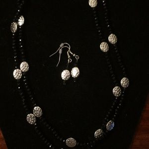 Charming Charlie Jewelry - ***NWOT Black & Silver Necklace & Earrings